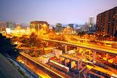 City and train rail, sunset moment