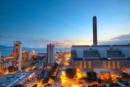 Photo for Cement Plant and power sation in sunset - Royalty Free Image