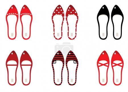 Retro shoes set isolated on white ( black & red )