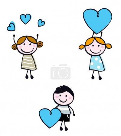 Illustration pour Mignons enfants gribouillis avec le cœur de la Saint-Valentin. Illustration de dessin animé vectoriel - image libre de droit