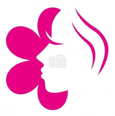 Female flower face pink icon isolated on white ( pink )