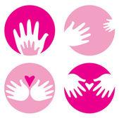 Motherhood helpful hands icons isolated on white