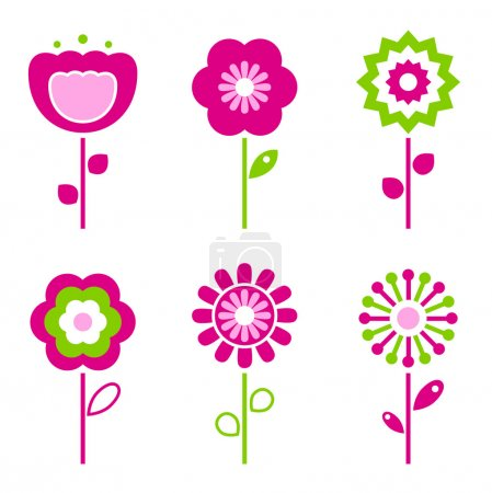 Collection of green and pink retro spring flowers ...