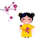 Asia girl in yellow kimono isolated on white