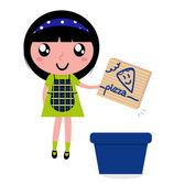 Roztomilá dívka recyklovat papírová krabice do koše