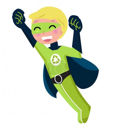 Green super hero boy isolated on white