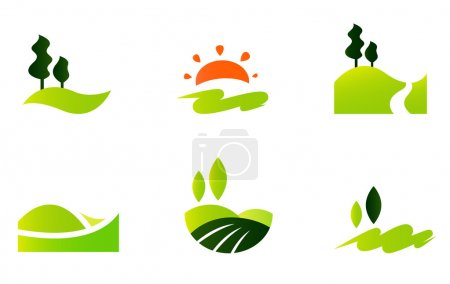 Illustration for Tourism and hills icon collection. Vector Illustration - Royalty Free Image