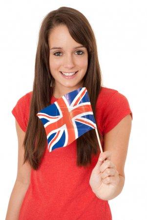 Photo pour Femme tenant le drapeau Union Jack - image libre de droit
