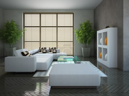 Modern interior with two plants
