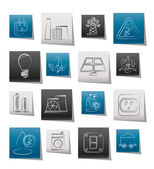 Power energy and electricity icons