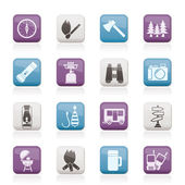 Camping travel and Tourism icons