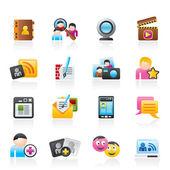 Icone sociale networking e comunicazione