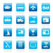 Travel transportation tourism and holiday icons - vector icon set
