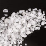 Detail of sea salt crystals on black background...