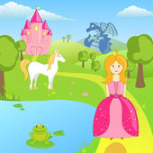 Vector illustration of different fairytale elements
