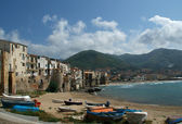 View of the Cefalu waterfront. Sicily, Italy.