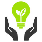 Green ecology bulb in open hands