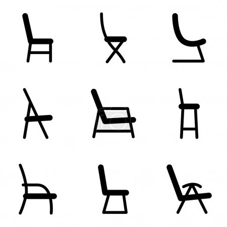 Illustration for Black vector icon collection of chairs - Royalty Free Image