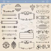 Vector calligraphic decoration elements set