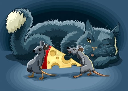 Illustration for The Cunning cat keeps a check on mouse with cheese - Royalty Free Image