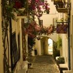 Dawn. Narrow street in a small Mediterranean village. Cadaques, Costa Brava, Catalonia, Spain