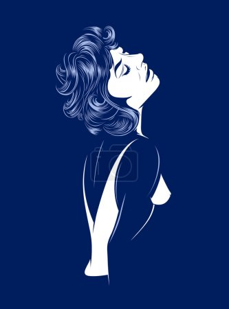 Illustration for Sexy glamour women silhouette on dark - Royalty Free Image