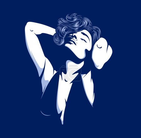 Illustration for Pretty glamour women silhouette on dark - Royalty Free Image