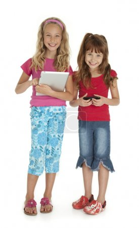 Two Children With Gadgets