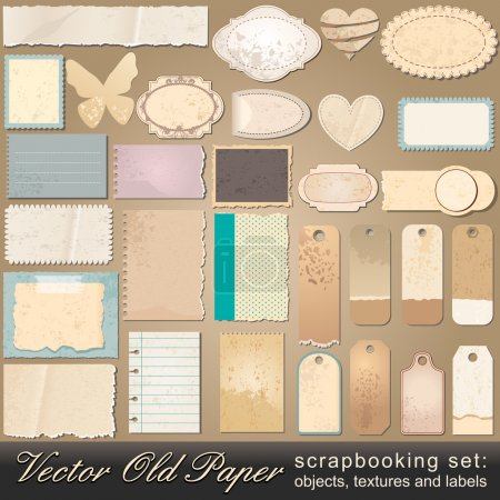 Illustration for Vector large scrapbooking set of old, vintage paper objects, textures and labels illustrations - Royalty Free Image