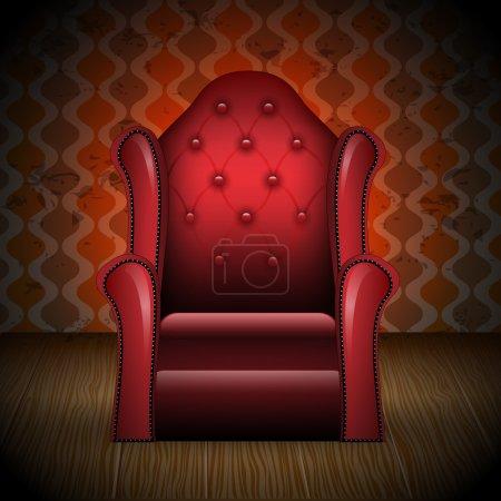 Illustration pour Illustration vectorielle d'un fauteuil élégant, vintage et détaillé dans la chambre - image libre de droit