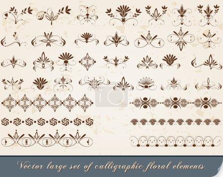 Illustration for Vector large set of vintage, elegant, floral calligraphic design elements and decorations - Royalty Free Image