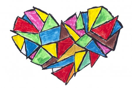 Photo for Broken heart abstract concept- isolated painted children naive drawing - Royalty Free Image