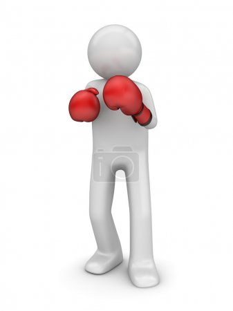 Defending in boxing (3d isolated characters sports series)