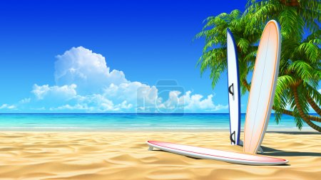 Photo for Three surf boards on idyllic tropical sand beach. No noise, clean, extremely detailed 3d render. Concept for surfing, rest, holidays, resort design. - Royalty Free Image