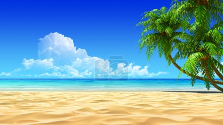Photo for Palms on empty idyllic tropical sand beach. detailed 3d render. Concept for rest, holidays, resort, spa design or background. - Royalty Free Image
