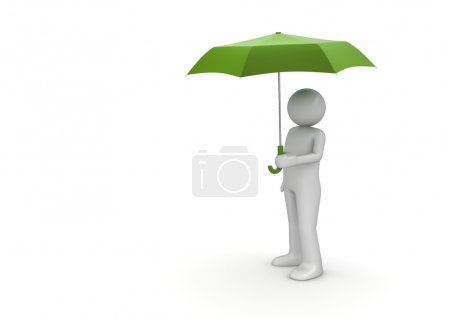 Man Under Green Umbrella