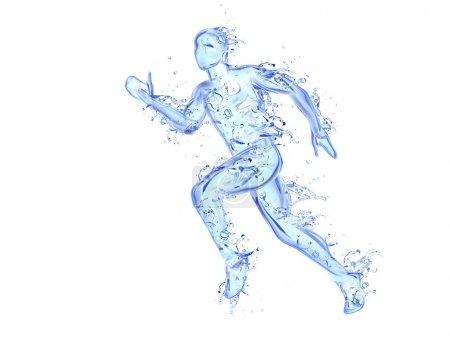 Photo pour Œuvre d'art liquide de l'homme en cours d'exécution - Figure d'athlète en mouvement faite d'eau avec des gouttes tombantes - image libre de droit