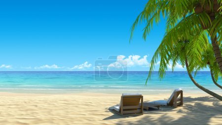 Photo for Two beach chairs on idyllic tropical white sand beach. Shadow from the palm trees. No noise, clean, extremely detailed 3d render. Concept for holidays, spa, resort design. - Royalty Free Image