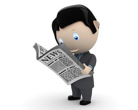 Photo pour Bonne nouvelle ! Personnages sociaux 3D : homme d'affaires en costume lisant le journal. Nouvelle collection sans cesse croissante d'images multifonctions uniques et expressives. Concept pour illustration de nouvelles. Isolé . - image libre de droit
