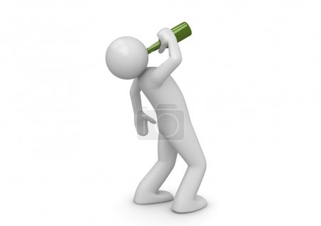 Drunk man with green bottle