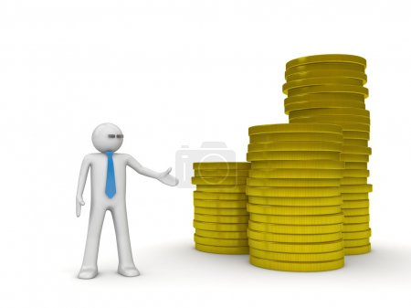 Businessman and heap of coins