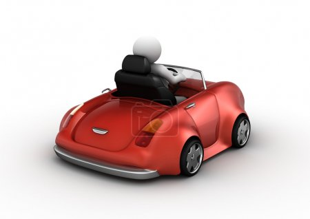 Red cabrio driven by 3d character (funny micromach...