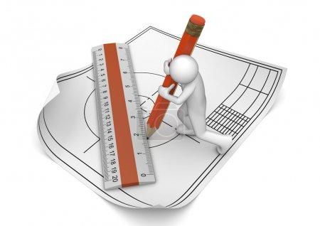 Engineer drawing with pencil and ruler