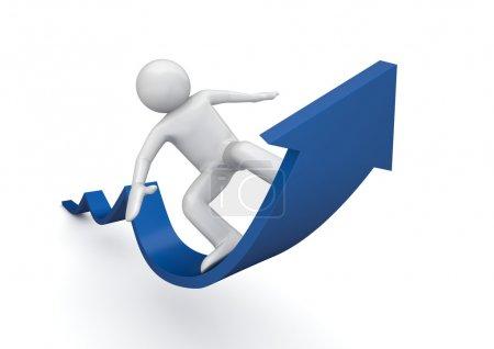 Photo pour Surfer sur une flèche bleue de succès (personnages isolés 3d sur fond blanc, séries affaires et finances ) - image libre de droit