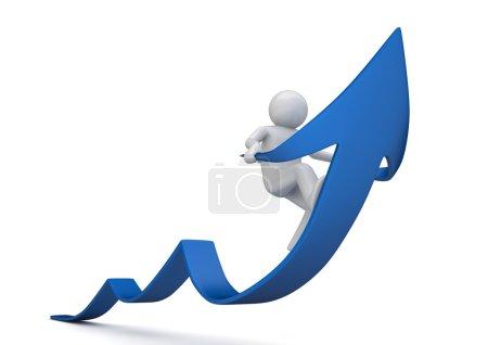 Photo pour Riding flèche bleue de succès (caractères isolés 3d sur fond blanc, série affaires et finances ) - image libre de droit