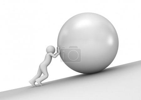 Photo pour Poids lourd - homme et pierre (caractères isolés 3d sur fond blanc série ) - image libre de droit