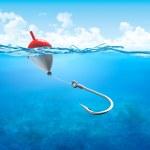 Float, fishing line and hook underwater vertical (...