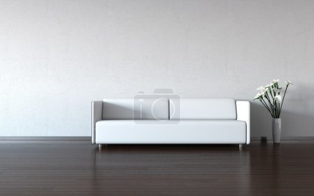 Minimalism: white couch and vase by the wall