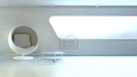 White modern armchair in interrior wall window copyspace