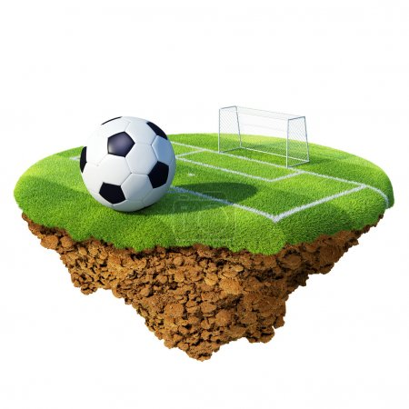 Soccer ball on field, penalty area and goal based on little planet. Concept for soccer championship, league, team design